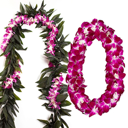 Ti leaf lei with Orchid lei wrap /& Double Orchid lei Graduation Lei Pack